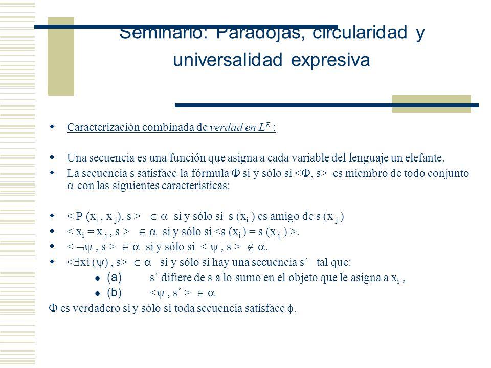 Seminario: Paradojas, circularidad y universalidad expresiva Caracterización simple de verdad en L C : P (x i, x j ) se traduce como x i pertenece a x j xi se traduce como Existe un conjunto … La secuencia s satisface la fórmula si y sólo si es miembro de todo conjunto con las siguientes características: si y sólo si es miembro del valor semántico de P.