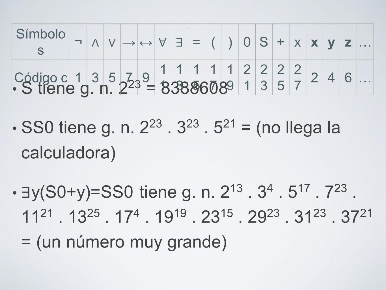S tiene g. n. 2 23 = 8388608 SS0 tiene g. n. 2 23. 3 23. 5 21 = (no llega la calculadora) y(S0+y)=SS0 tiene g. n. 2 13. 3 4. 5 17. 7 23. 11 21. 13 25.