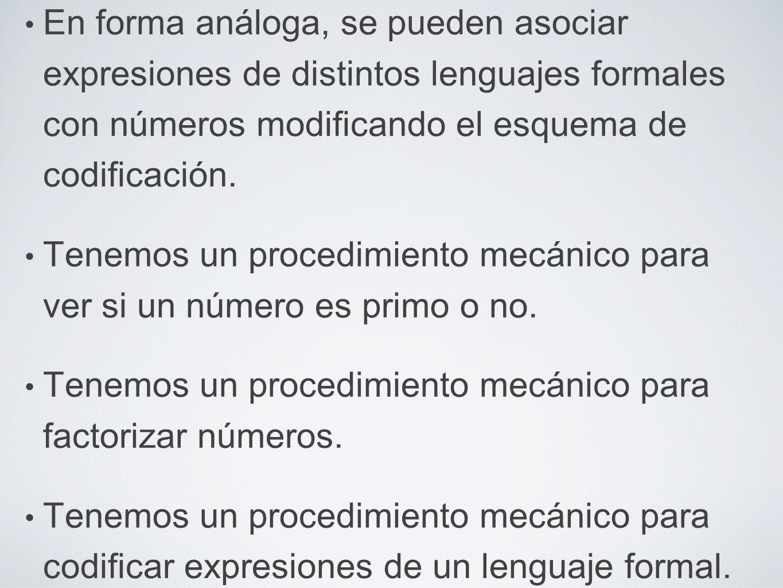 En forma análoga, se pueden asociar expresiones de distintos lenguajes formales con números modificando el esquema de codificación. Tenemos un procedi
