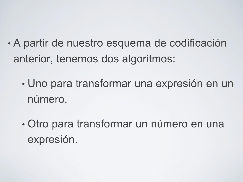 A partir de nuestro esquema de codificación anterior, tenemos dos algoritmos: Uno para transformar una expresión en un número. Otro para transformar u