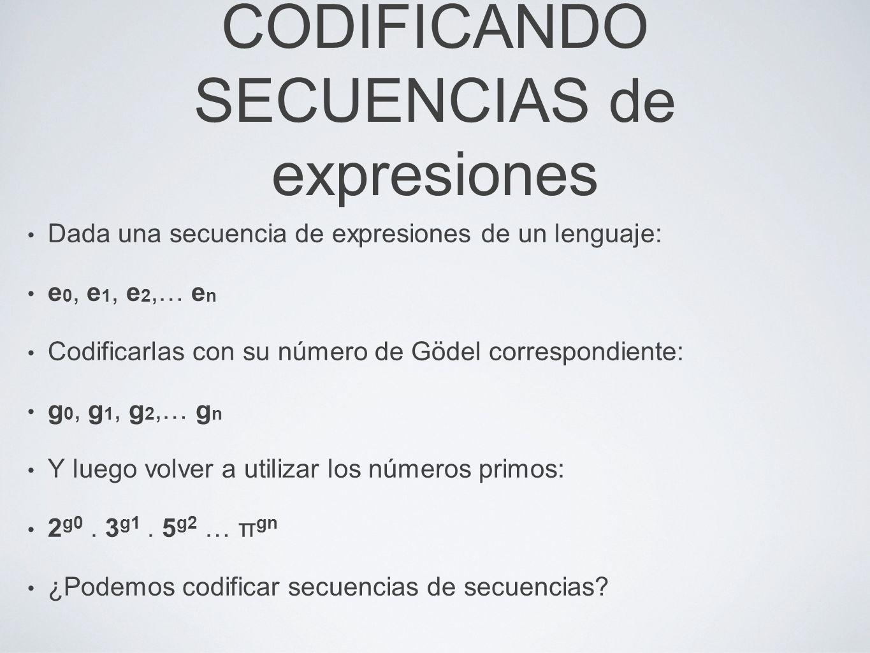 Dada una secuencia de expresiones de un lenguaje: e 0, e 1, e 2,… e n Codificarlas con su número de Gödel correspondiente: g 0, g 1, g 2,… g n Y luego