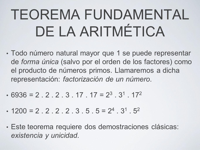 TEOREMA FUNDAMENTAL DE LA ARITMÉTICA Todo número natural mayor que 1 se puede representar de forma única (salvo por el orden de los factores) como el