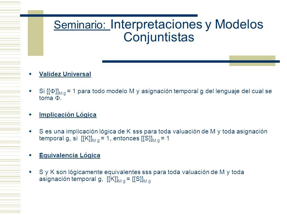 Seminario: Interpretaciones y Modelos Conjuntistas g´ queda definida por g y el valor que g´le asigne a la variable sobre la cual se hace la variante.