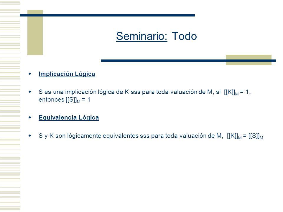 Seminario: Todo (I) [[P n (c 1,..., c n )]] M = 1 sss [[P n ]] M (ii) [[ ¬ ]] M = 1 sss [[ ]] M = 0 (iii) [[ & ]] M = 1 sss [[ ]] M = 1 y [[ ]] M = 1 (iv) [[ x ]] M = 1 sss [[ [c/x] ]] M = 1, para toda constante c de L (v) [[ x ]] M = 1 sss [[ [c/x] ]] M = 1, para alguna constante c de L.