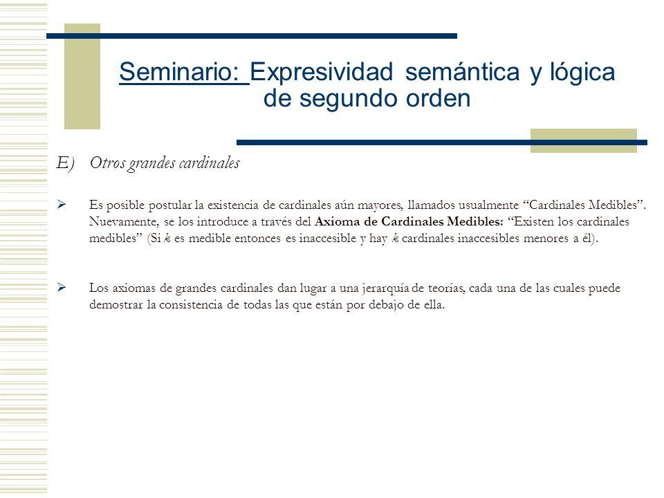 Seminario: Expresividad semántica y lógica de segundo orden D)Cardinales inaccesibles en ZFC Su existencia queda establecida por la introducción del A