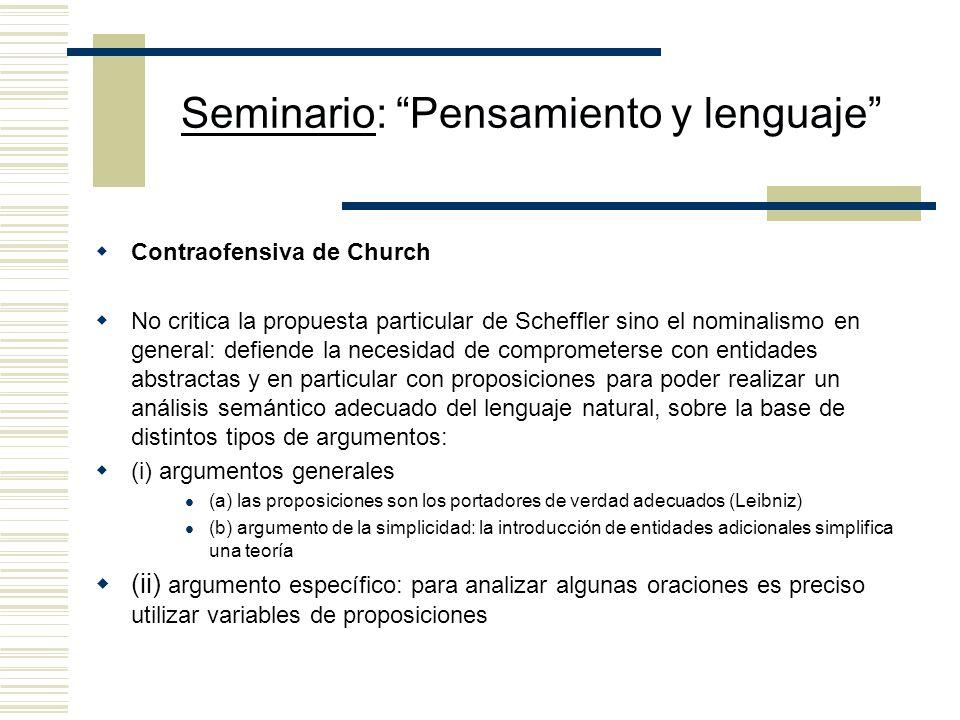 Seminario: Pensamiento y lenguaje ¿Supera esta propuesta la crítica de Church? Dado que el análisis inscripcional de la cita indirecta no contiene, co