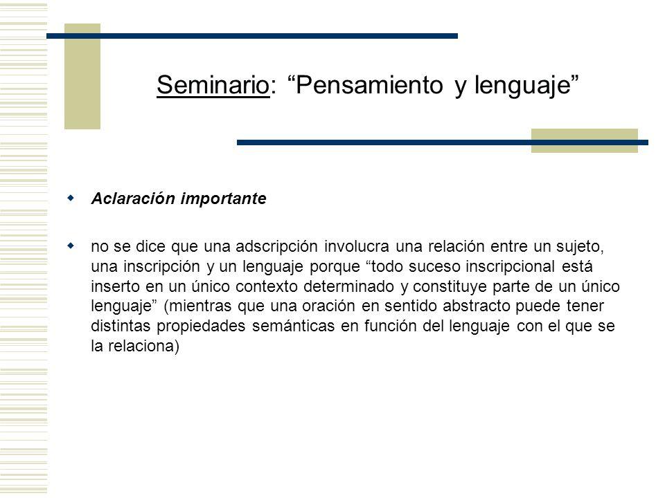 Seminario: Pensamiento y lenguaje ¿Por qué la propuesta es nominalista? se considera que Juan está en relación con una inscripción concreta a la que s