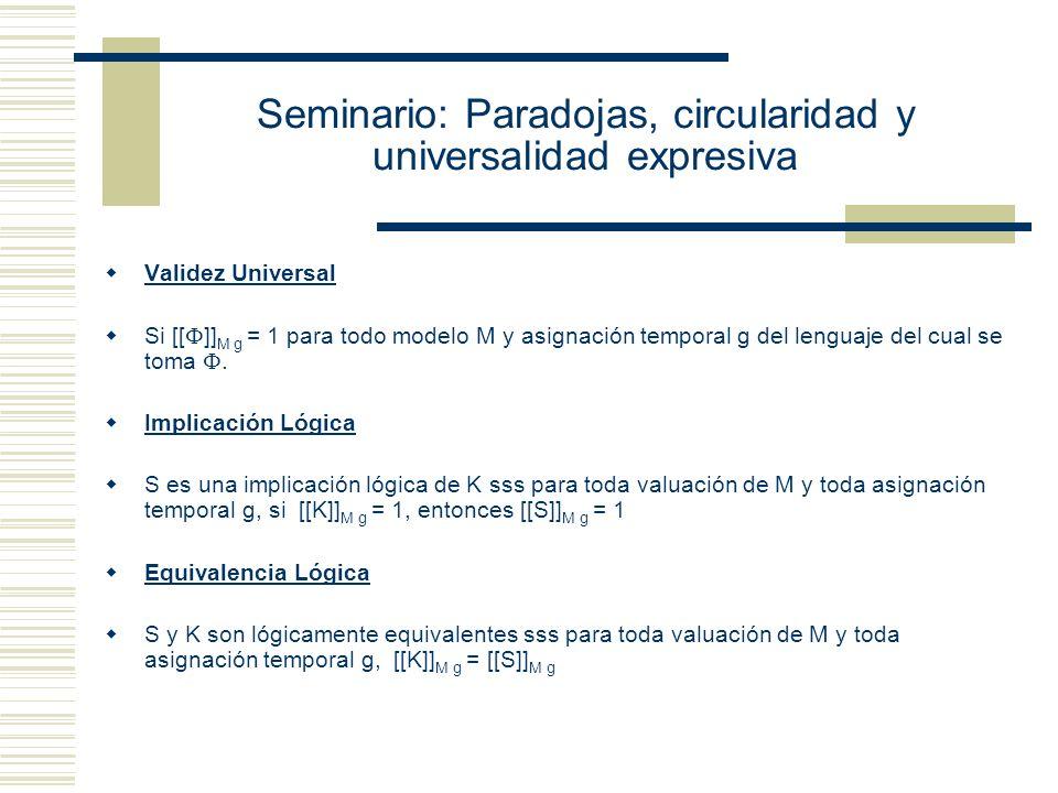 Seminario: Paradojas, circularidad y universalidad expresiva g´ queda definida por g y el valor que g´le asigne a la variable sobre la cual se hace la variante.