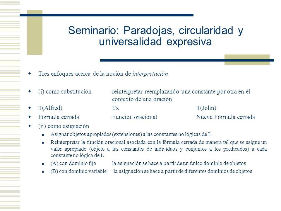 Seminario: Paradojas, circularidad y universalidad expresiva Alfred Tarski