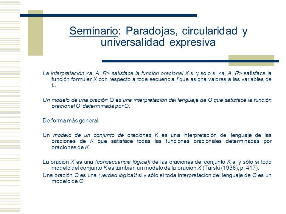 Seminario: Paradojas, circularidad y universalidad expresiva Propuesta tarskiana : (Simplificación de la Definición de Gómez-Torrente) Decimos que la