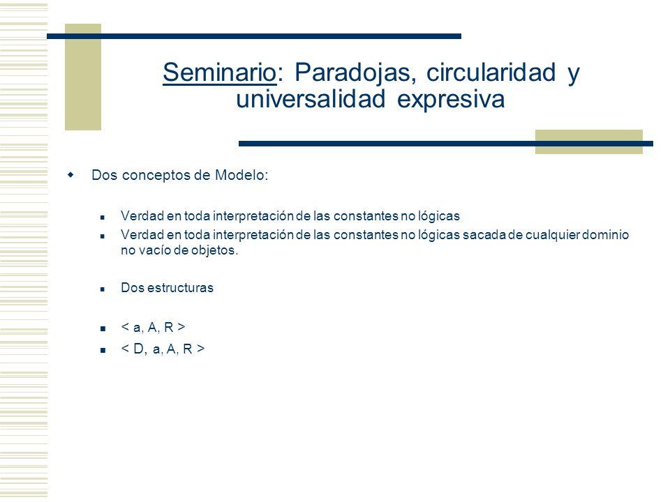 Seminario: Paradojas, circularidad y universalidad expresiva Propuesta tarskiana 2: (Simplificación de la Definición de Gómez-Torrente, Cap. 6) La def