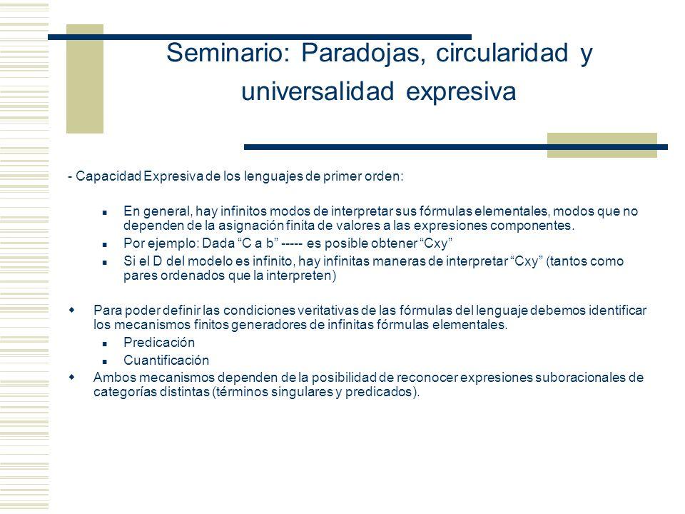 Seminario: Paradojas, circularidad y universalidad expresiva -Johan van Benthem -(L.T.F. GAMUT)