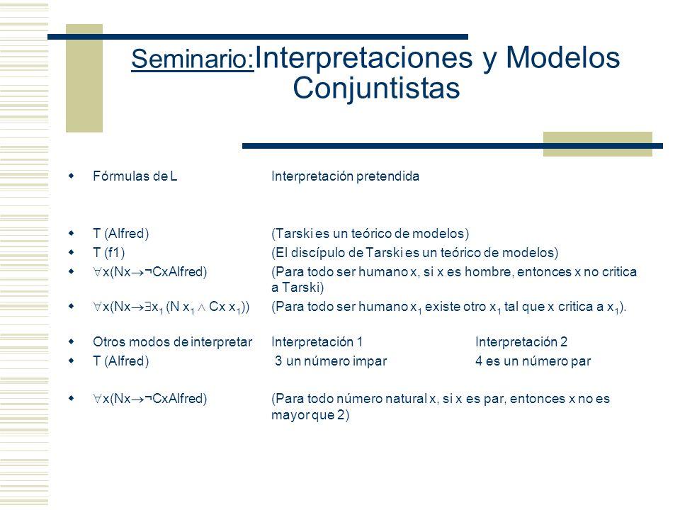 Seminario: Interpretaciones y Modelos Conjuntistas Lenguaje Set Predicado diádico (Símbolo de identidad) Predicado diádico (Símbolo de Pertenencia) Pr