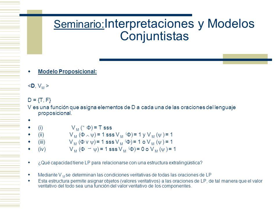 Seminario: Interpretaciones y Modelos Conjuntistas Fórmulas de LInterpretación pretendida T (Alfred) (Tarski es un teórico de modelos) T (f1) (El disc
