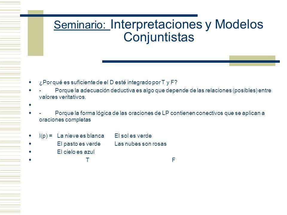 Seminario: Interpretaciones y Modelos Conjuntistas Modelo Proposicional: D = {T, F} V es una función que asigna elementos de D a cada una de las oraci
