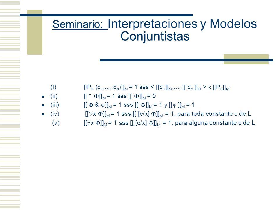 Seminario: Interpretaciones y Modelos Conjuntistas Restricción simplificadora: todos los objetos de D tienen nombre Se reduce la verdad en M de x y de
