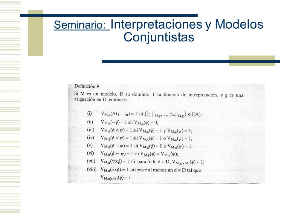 Seminario: Interpretaciones y Modelos Conjuntistas (I) [[P n (c 1,..., c n )]] M = 1 sss [[P n ]] M (ii) [[ ¬ ]] M = 1 sss [[ ]] M = 0 (iii) [[ & ]] M
