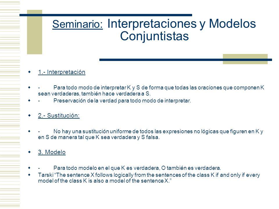 Seminario: Interpretaciones y Modelos Conjuntistas 1.- Interpretación - Para todo modo de interpretar K y S de forma que todas las oraciones que componen K sean verdaderas, también hace verdadera a S.