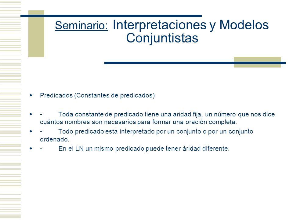Seminario: Interpretaciones y Modelos Conjuntistas Nombres Propios (constantes de individuos) - Todo nombre debe nombrar un objeto - Ningún nombre pue