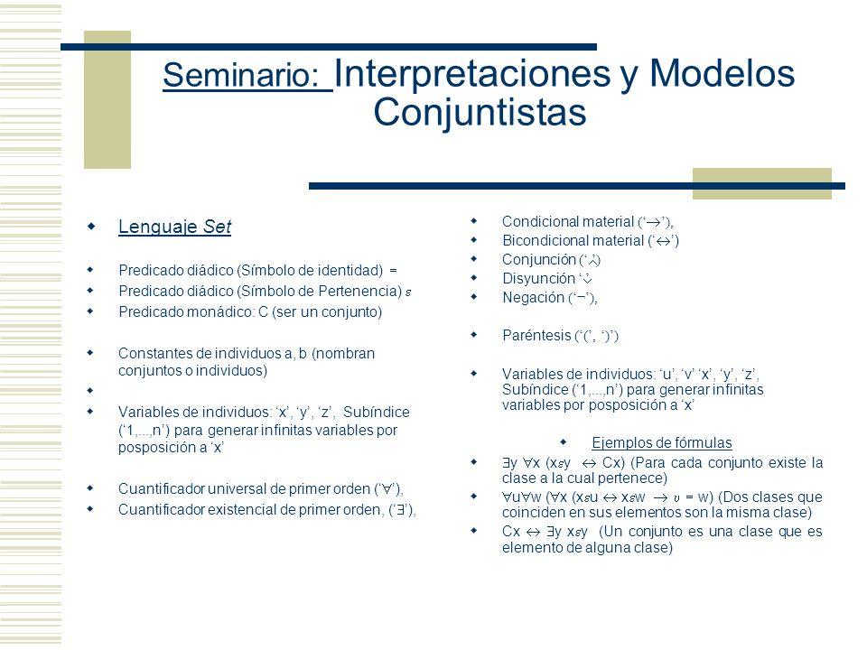 Seminario: Interpretaciones y Modelos Conjuntistas Lenguaje Set Predicado diádico (Símbolo de identidad) Predicado diádico (Símbolo de Pertenencia) Predicado monádico: C (ser un conjunto) Constantes de individuos a, b (nombran conjuntos o individuos) Variables de individuos: x, y, z, Subíndice (1,...,n) para generar infinitas variables por posposición a x Cuantificador universal de primer orden ( ), Cuantificador existencial de primer orden, ( ), Condicional material ( ), Bicondicional material ( ) Conjunción ( ) Disyunción Negación (¬), Paréntesis ((, )) Variables de individuos: u, v x, y, z, Subíndice (1,...,n) para generar infinitas variables por posposición a x Ejemplos de fórmulas y x (x y Cx) (Para cada conjunto existe la clase a la cual pertenece) u w ( x (x u x w w) (Dos clases que coinciden en sus elementos son la misma clase) Cx y x y (Un conjunto es una clase que es elemento de alguna clase)