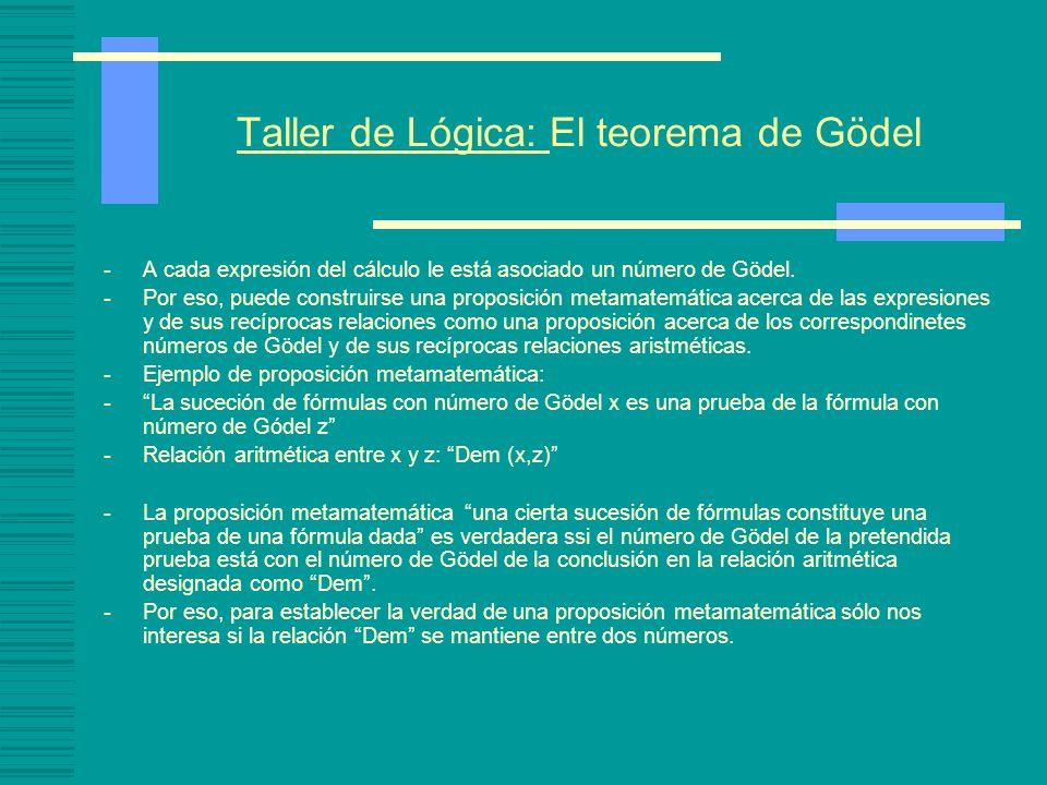 Taller de Lógica: El teorema de Gödel -A cada expresión del cálculo le está asociado un número de Gödel. -Por eso, puede construirse una proposición m