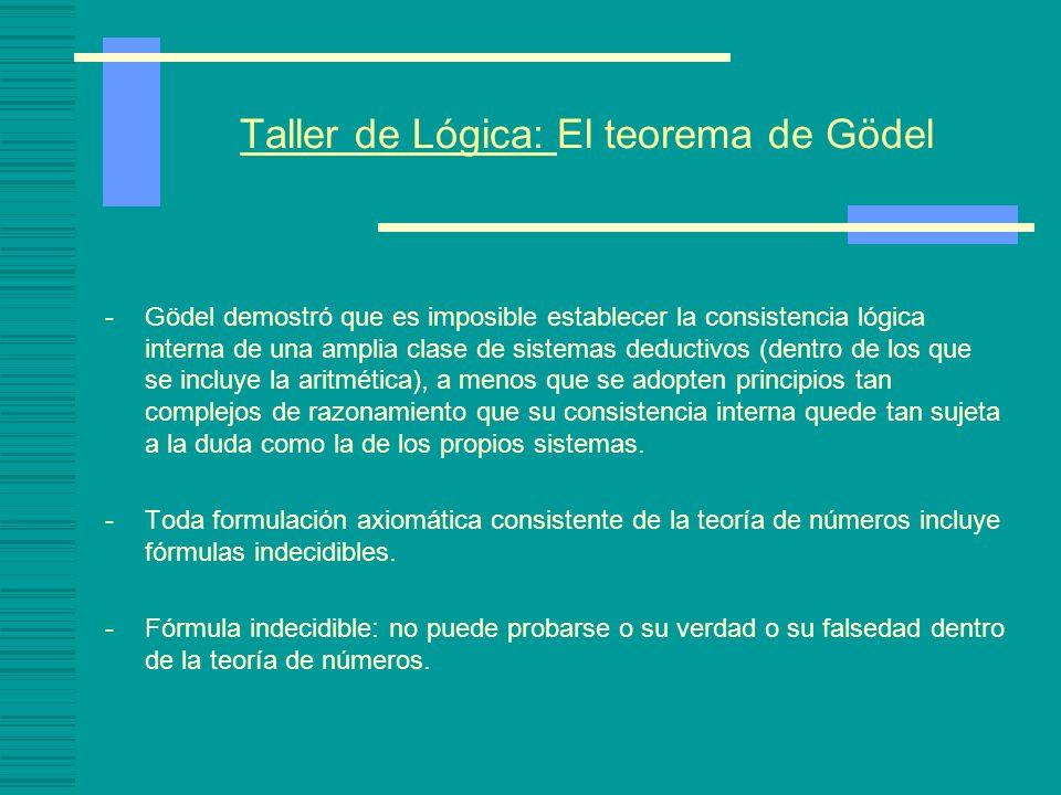 Taller de Lógica: El teorema de Gödel -Gödel demostró que es imposible establecer la consistencia lógica interna de una amplia clase de sistemas deduc