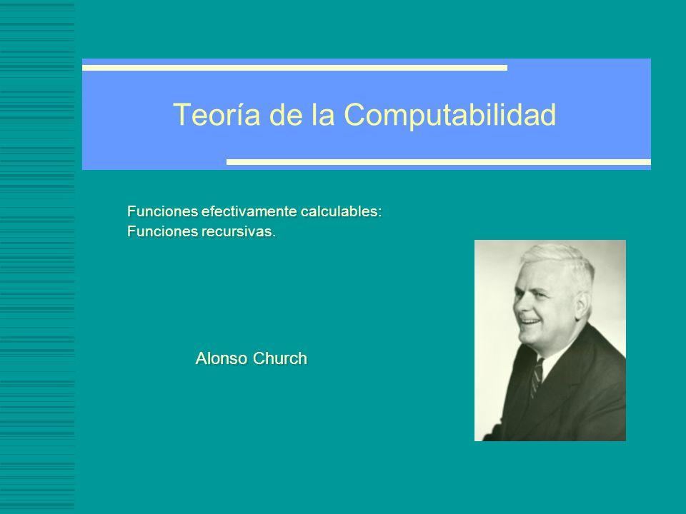 Teoría de la Computabilidad Funciones efectivamente calculables: Funciones recursivas. Alonso Church Funciones efectivamente calculables: Funciones re