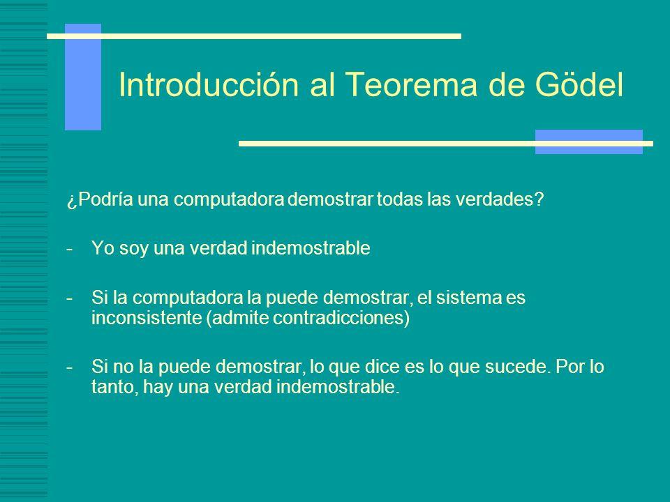 Introducción al Teorema de Gödel ¿Podría una computadora demostrar todas las verdades? -Yo soy una verdad indemostrable -Si la computadora la puede de