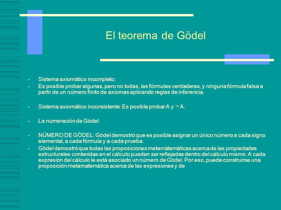 El teorema de Gödel -Sistema axiomático incompleto: -Es posible probar algunas, pero no todas, las fórmulas verdaderas, y ninguna fórmula falsa a part