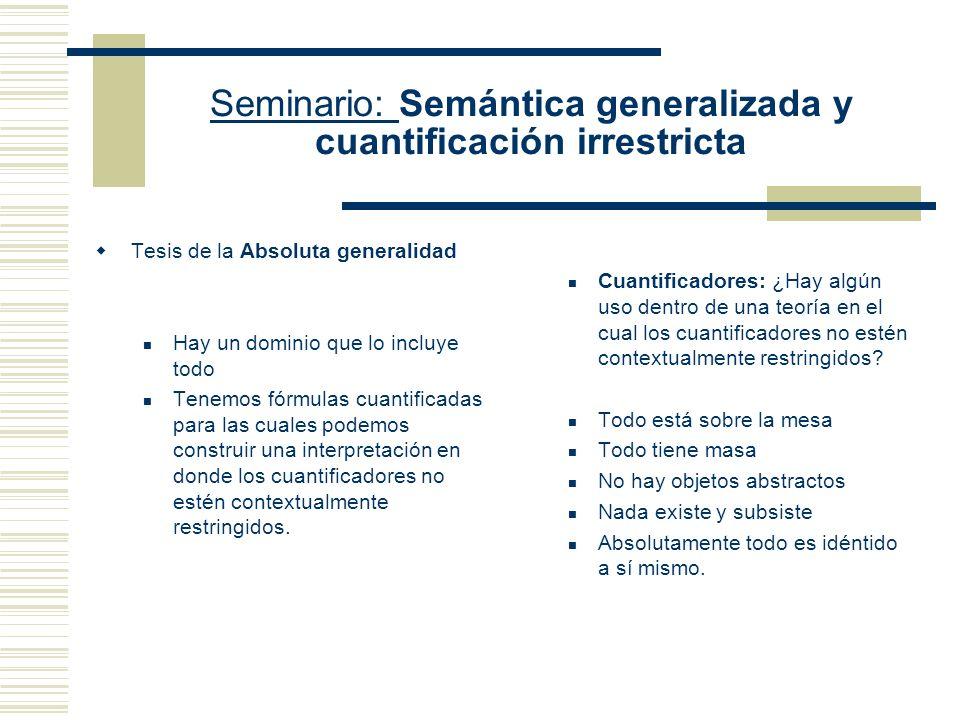 Seminario: Semántica generalizada y cuantificación irrestricta El problema de la Absoluta generalidad ¿Puede una teoría tener un poder expresivo suficiente como para hablar acerca de todo.