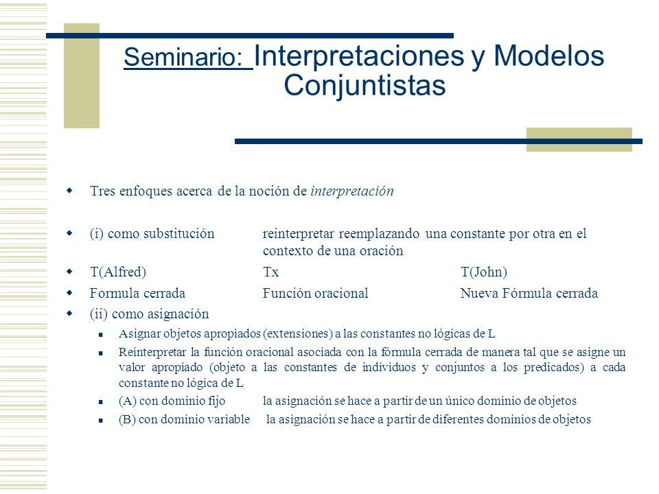 Seminario: Interpretaciones y Modelos Conjuntistas Condición de adecuación para un análisis de la noción de consecuencia lógica Condición (F): Si K S,