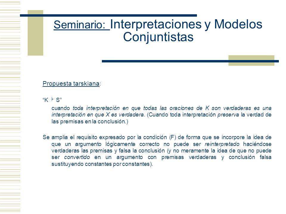 Seminario: Interpretaciones y Modelos Conjuntistas Tres enfoques acerca de la noción de interpretación (i) como substituciónreinterpretar reemplazando