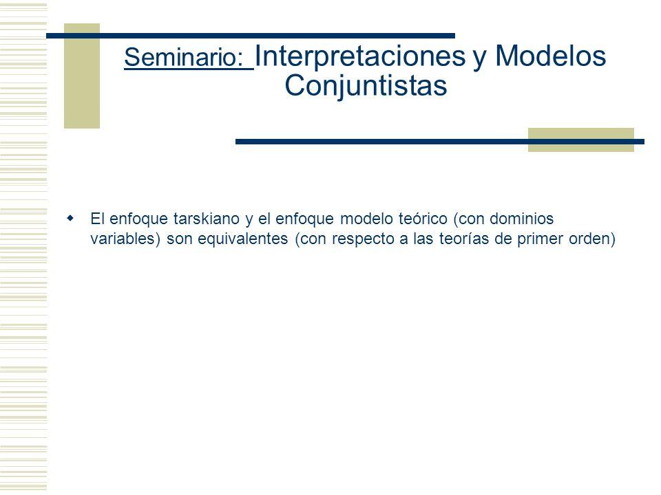 Seminario: Interpretaciones y Modelos Conjuntistas Definición: La interpretación I Sat la función oracional X sss la I Sat la función formular con res