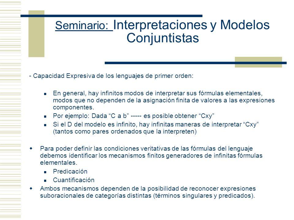 Seminario: Interpretaciones y Modelos Conjuntistas - Capacidad Expresiva de los lenguajes de primer orden: En general, hay infinitos modos de interpretar sus fórmulas elementales, modos que no dependen de la asignación finita de valores a las expresiones componentes.