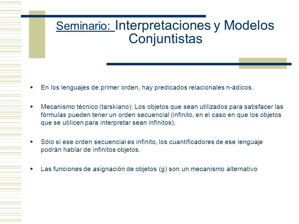 Seminario: Interpretaciones y Modelos Conjuntistas En los lenguajes de primer orden, hay predicados relacionales n-ádicos.