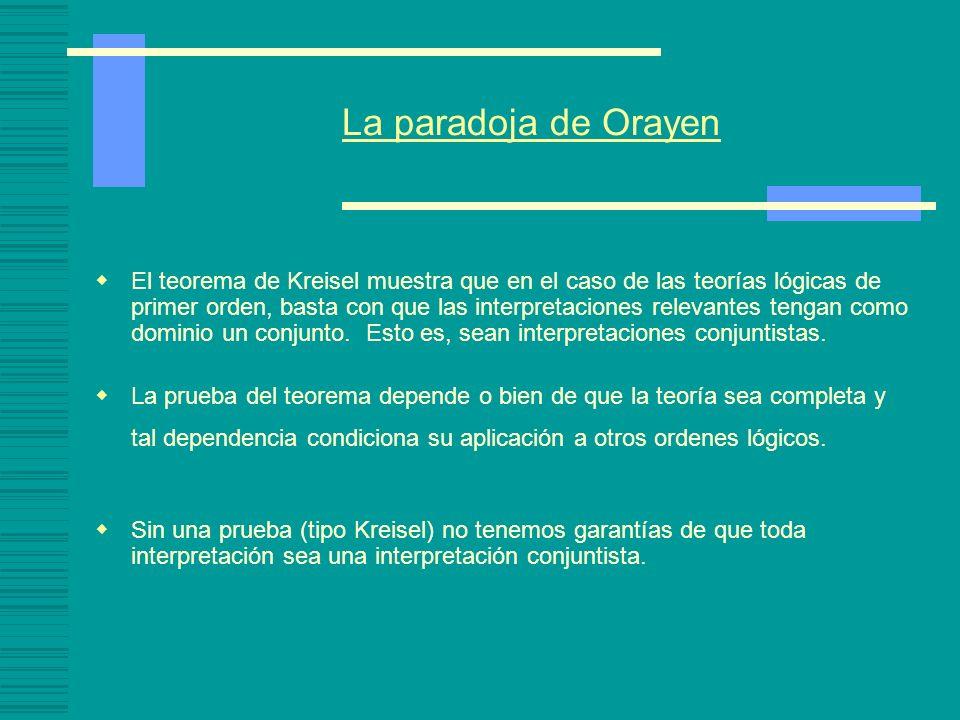 La paradoja de Orayen Problemas: Al dar una definición de verdad en un modelo, se utiliza la teoría de conjuntos. Tomemos una teoría de primer orden,