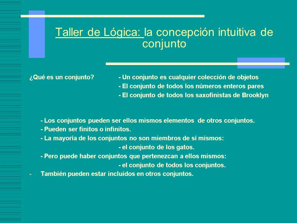 Taller de Lógica: la concepción intuitiva de conjunto ¿Qué es un conjunto.