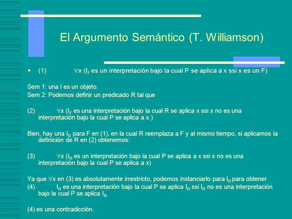 ¿Hay tantas interpretaciones como objetos? Supongamos que L es un lenguaje de primer orden. (ii) Optimismo semántico: podemos especificar la semántica