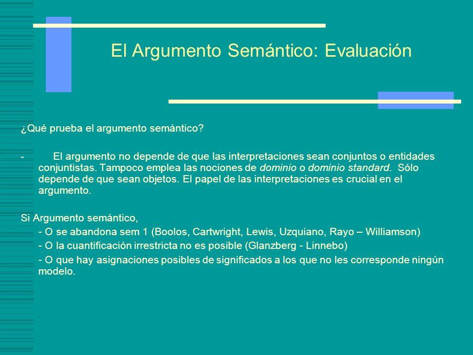 El argumento semántico Argumento Semántico -Necesitamos una noción ontológica de Interpretación, ya que las definiciones de consecuencia lógica y de v