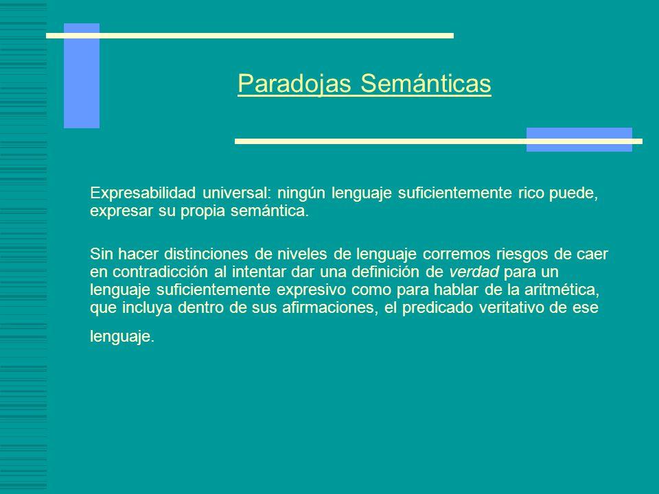 Paradojas Semánticas (1) Esta oración es falsa Supongamos que (1) es verdadera, entonces lo que dice es el caso, por lo tanto, es falsa. Supongamos qu
