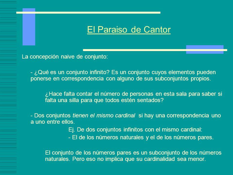 El Paraiso de Cantor La concepción naive de conjunto: - ¿Qué es un conjunto infinito.