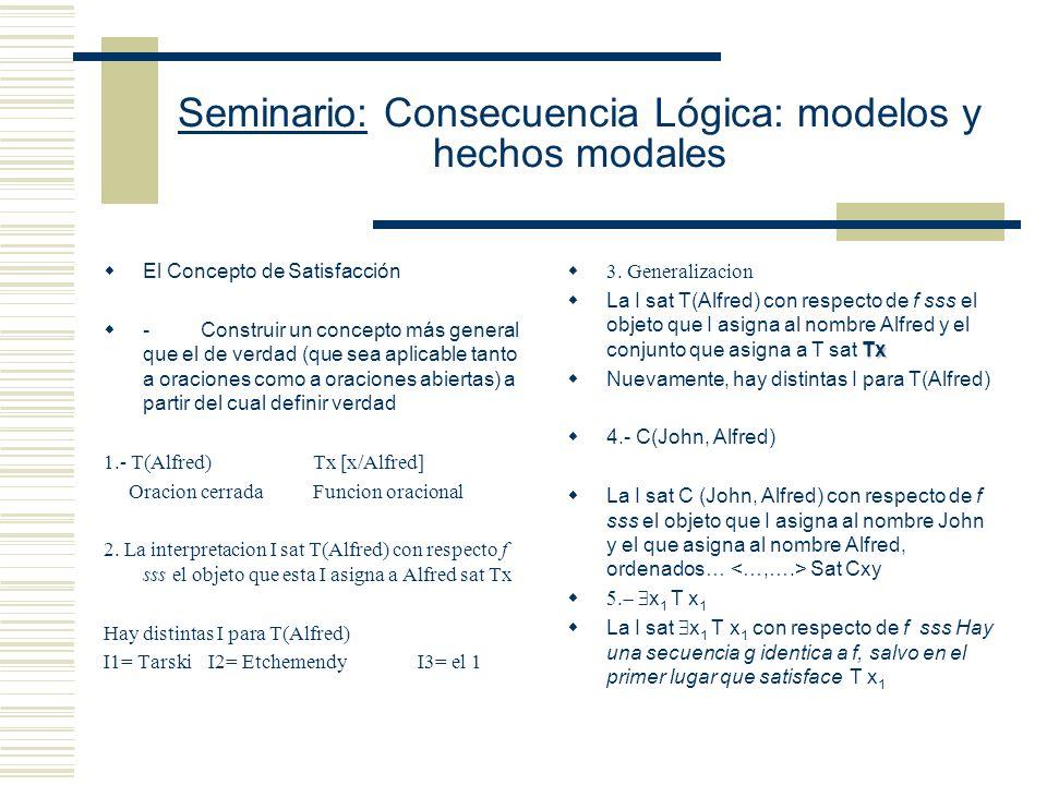 Seminario: Consecuencia Lógica: modelos y hechos modales La secuencia finita f de objetos satisface el predicado x 2 x 3 sss el objeto ubicado en el segundo lugar de la secuencia f tiene con el objeto ubicado en el tercer lugar de la secuencia.