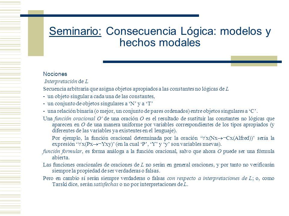 Seminario: Consecuencia Lógica: modelos y hechos modales Mario Gómez Torrente Forma y Modalidad (2002) Cap.
