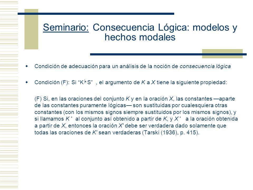 Seminario: Consecuencia Lógica: modelos y hechos modales Condición de adecuación para un análisis de la noción de consecuencia lógica Condición (F): Si K S, el argumento de K a X tiene la siguiente propiedad: (F) Si, en las oraciones del conjunto K y en la oración X, las constantes aparte de las constantes puramente lógicas son sustituidas por cualesquiera otras constantes (con los mismos signos siempre sustituidos por los mismos signos), y si llamamos K al conjunto así obtenido a partir de K, y X a la oración obtenida a partir de X, entonces la oración X debe ser verdadera dado solamente que todas las oraciones de K sean verdaderas (Tarski (1936), p.
