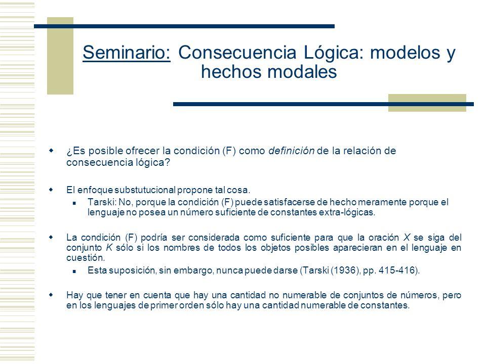 Seminario: Consecuencia Lógica: modelos y hechos modales (1) Dos argumentos (no necesariamente distintos) tienen la misma forma cuando son obtenibles el uno a partir del otro sustituyendo de manera uniforme constantes no lógicas por constantes no lógicas.
