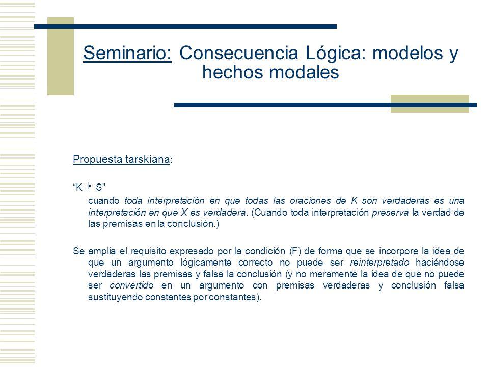Seminario: Consecuencia Lógica: modelos y hechos modales Propuesta tarskiana : K S cuando toda interpretación en que todas las oraciones de K son verdaderas es una interpretación en que X es verdadera.