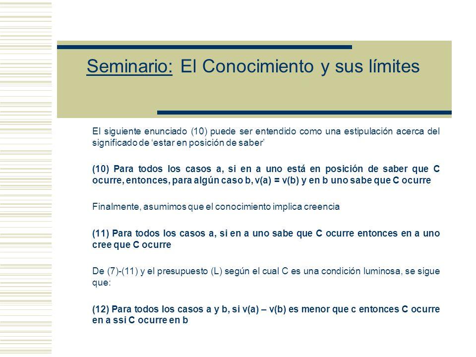 Seminario: El Conocimiento y sus límites - Argumento que explica cómo el modelo falsifica la luminosidad y verifica un principio de margen para el error: (7) Para todos los casos a y b, si v(a) = v(b) entonces C ocurre en a ssi C ocurre en b (8) Si uno tiene la creencia en a, entonces uno la podría fácilmente haber tenido igual si el parámetro hubiera tomado un valor levemente diferente (la creencia no es un instrumento perfecto de discriminación) Asumiendo una conexión entre el conocimiento y el estar a salvo del error, (9) Para todos los casos a y b, si b es cercano/similar a a y en a uno sabe que C ocurre, entonces en b uno no cree falsamente que C ocurre