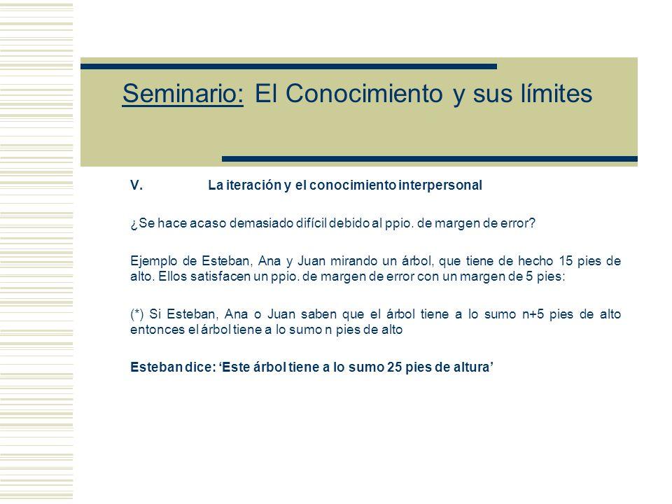 Seminario: El Conocimiento y sus límites Esta condición es desastrosa porque implica que la condición C es trivial.