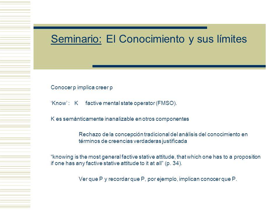 Seminario: El Conocimiento y sus límites Conocer p implica creer p Know : K factive mental state operator (FMSO).