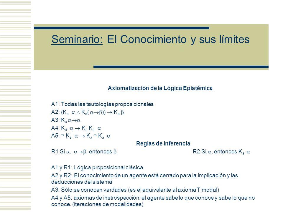 Seminario: El Conocimiento y sus límites Axiomatización de la Lógica Epistémica A1: Todas las tautologías proposicionales A2: (K a K a ( )) K a A3: K a A4: K a K a K a A5: ¬ K a K a ¬ K a Reglas de inferencia R1 Si, entonces R2 Si entonces K a A1 y R1: Lógica proposicional clásica.